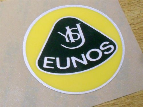 Badge, plastic, Eunos, retro style, 55mm, yellow/green